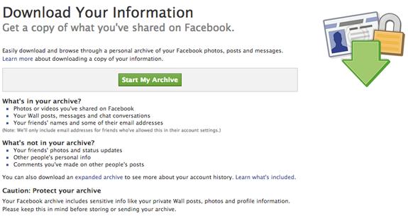 Facebook vas upozorava da će vaša arhiva sadržavati privatne podatke i da s njom budete oprezni. Nemojte je slati i davati drugim ljudima!