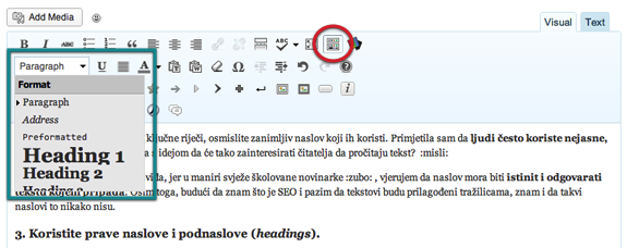 Što je SEO - WordPress Headings